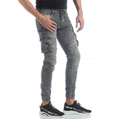 Рокерски мъжки Cargo Jeans в сиво it040219-16 5
