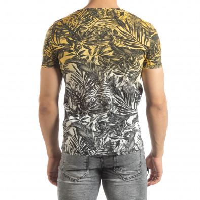 Мъжка жълта тениска с преливане Leaves мотив it150419-107 3