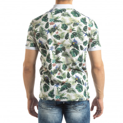 Флорална мъжка тениска с яка в бяло it150419-82 4