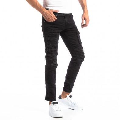 Черни мъжки скъсани дънки в рокерски стил it250918-20 3