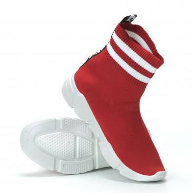 Червени дамски маратонки тип чорап с акценти it250119-58 6
