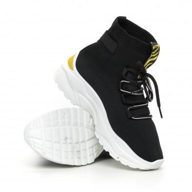 Черни дамски текстилни маратонки жълт акцент it130819-43 4