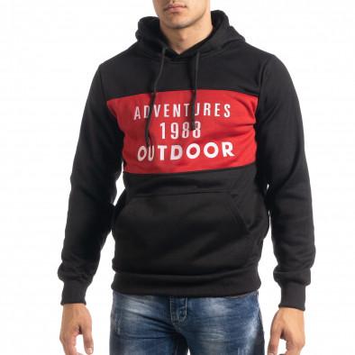 Мъжки суичър hoodie с червен акцент it041019-51 2