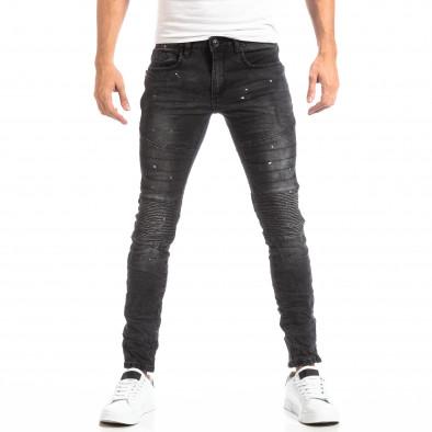 Рокерски мъжки дънки в черно it261018-2 3