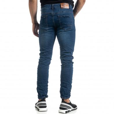 Намачкани сини мъжки дънки Slim fit it041019-20 4