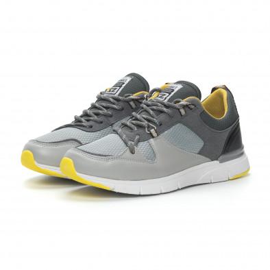 Комбинирани мъжки маратонки в сиво и жълто it150319-28 4