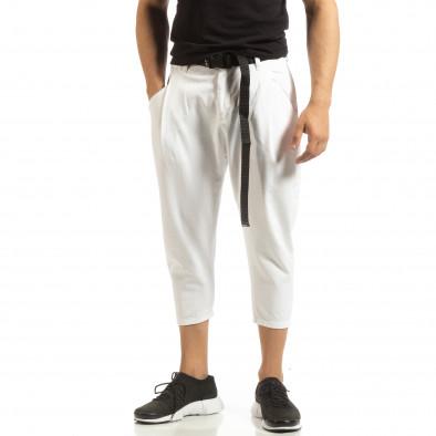 Cropped мъжки бял панталон брич стил it090519-5 2