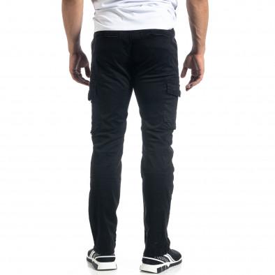 Мъжки черен карго панталон с прави крачоли it041019-44 4
