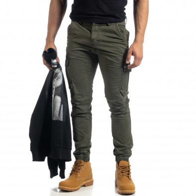Зелен мъжки карго панталон с ципове it041019-42 3