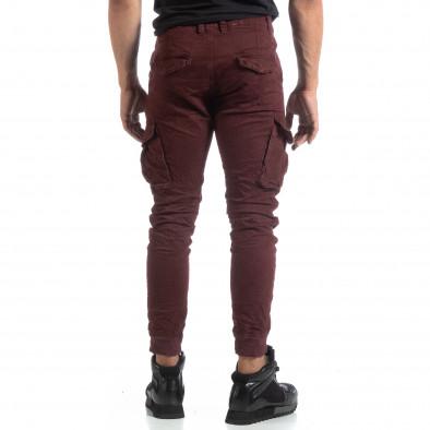 Мъжки намачкан панталон Cargo в бордо it170819-16 4