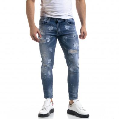 Мъжки сини дънки Destroyed Cropped it110320-5 2