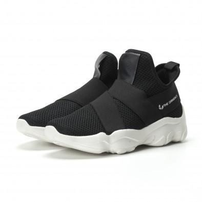 Slip-on мъжки маратонки черен текстил с ластици  it250119-8 3