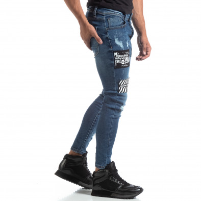 Сини мъжки прокъсани дънки с кръпки it170819-48 4