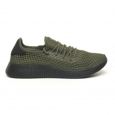 Зелени мъжки маратонки Mesh черна пета it251019-1 2