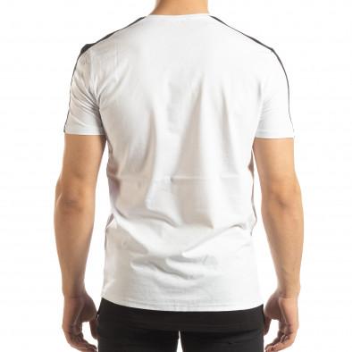 Бяла мъжка тениска с черно удължение it150419-84 4