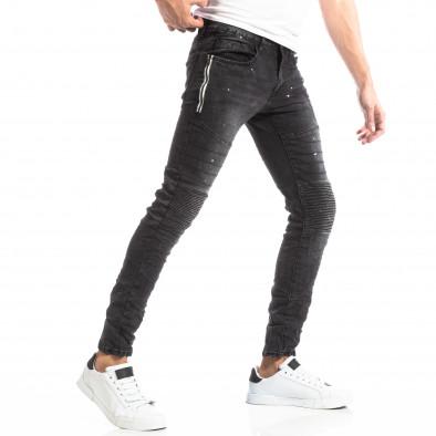 Рокерски мъжки дънки в черно it261018-2 2