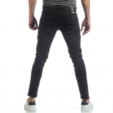 Черни мъжки дънки Slim fit с прокъсвания it040219-4 4