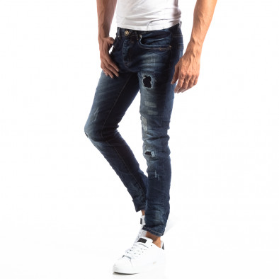 Мъжки намачкани Slim Jeans с акцентни кръпки it250918-16 2
