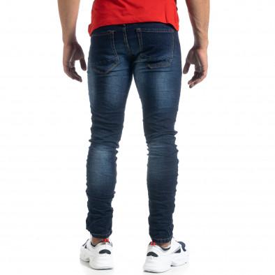 Тъмносини мъжки дънки с прокъсвания Slim fit it041019-36 3