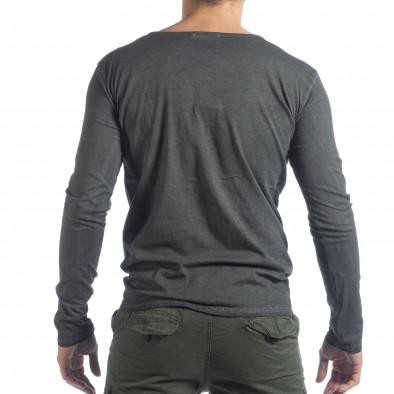 Мъжка блуза Vintage стил в сиво it040219-82 3