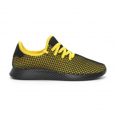 Ултралеки мъжки маратонки Mesh в черно и жълто it150319-23 3
