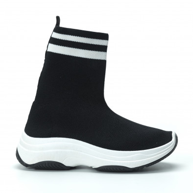 Черни дамски маратонки тип чорап с ленти it250119-61 3