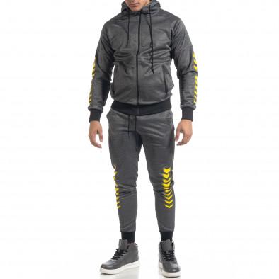 Сив мъжки спортен комплект с жълти акценти it071119-44 2