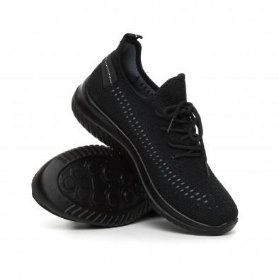 Черни плетени мъжки маратонки с декорация it130819-28 4
