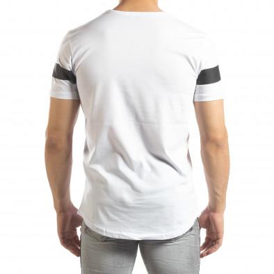 Мъжка удължена тениска в бяло it150419-93 3