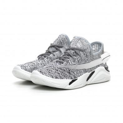 Плетени мъжки сиви маратонки с мрежа it260919-5 4
