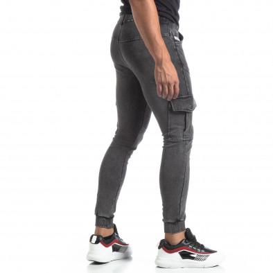 Мъжко сиво долнище тип Cargo Jeans it170819-30 3