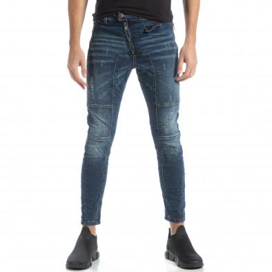 Намачкани мъжки сини дънки Biker style it051218-9 3