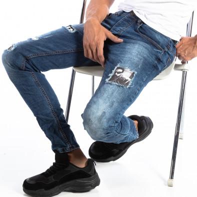 Мъжки сини Slim Jeans с ефектни кръпки it250918-15 2