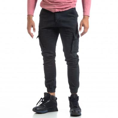 Мъжки черен карго панталон с маншети трико it170819-10 3