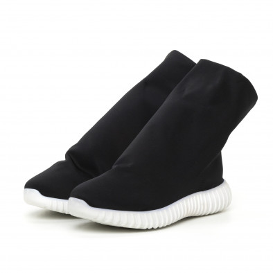 Дамски черни боти от неопрен тип чорап it130819-53 3