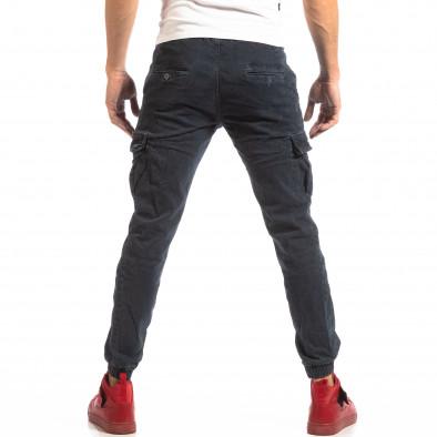 Син карго панталони с ластик на глезена it261018-23 4