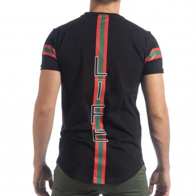 Мъжка черна тениска More Life Stripe it040219-118 4