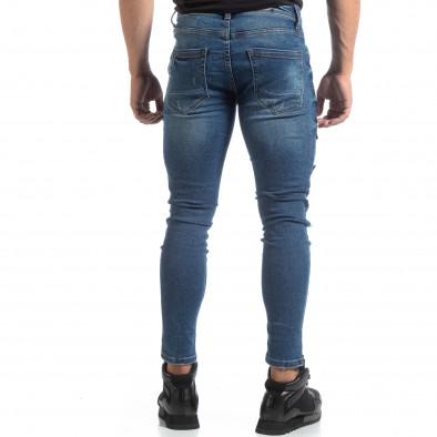 Сини мъжки прокъсани дънки с кръпки it170819-48 5