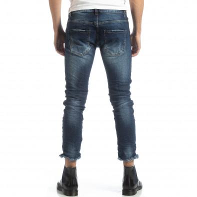 Намачкани сини дънки с черен кант it051218-14 4