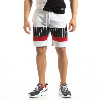 Мъжки бели шорти с ивици it150419-26 3