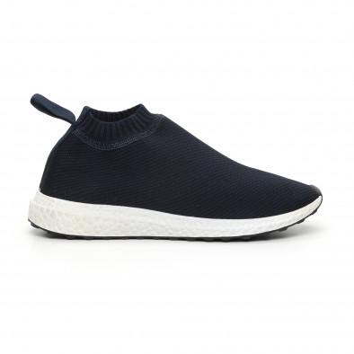 Мъжки slip-on маратонки тип чорап в синьо it130819-2 2