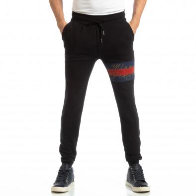 Памучен мъжки черен Jogger с акцент it261018-45 3