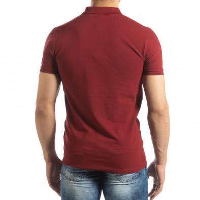 Фина мъжка тениска Polo shirt в тъмно червено it150419-95 3