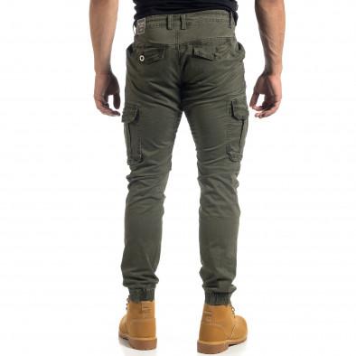 Зелен мъжки карго панталон с ципове it041019-42 4
