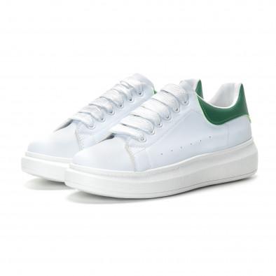 Мъжки бели кецове зелена пета it190219-5 3