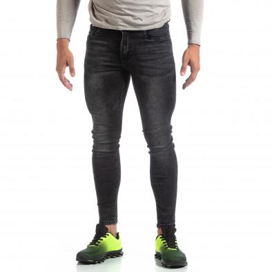 Skinny мъжки черни изтъркани дънки it170819-43 2