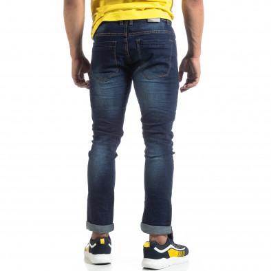 Мъжки изтъркани дънки Slim fit в синьо it170819-45 3