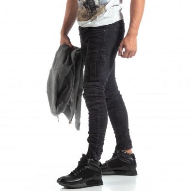 Мъжки черни Cargo Jeans рокерски стил it170819-53 2