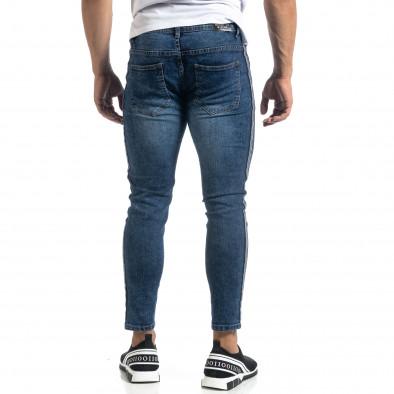 Cropped мъжки сини дънки с кантове Slim fit it041019-26 5