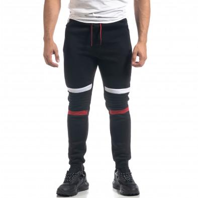 Черен ватиран мъжки спортен комплект Biker style it071119-50 5